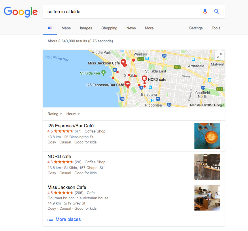 Google Local Three Pack - Coffee St Kilda