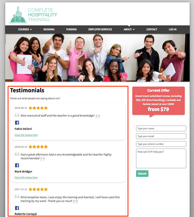 Reviews On Testimonials Page