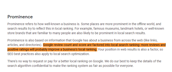 Google review count and score factors.
