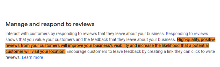 Positive reviews increase your business's visibility.