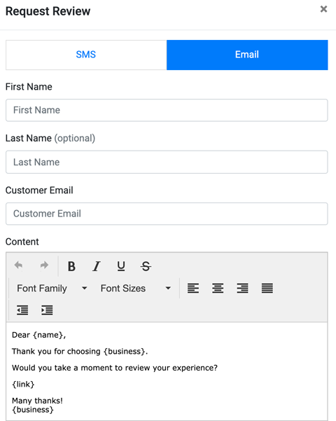 Request Review Template